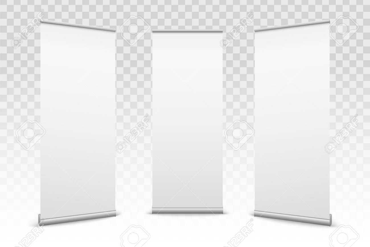 Creative vector illustration of empty roll up banners with paper canvas texture isolated on transparent background. Art design blank template mockup. Concept graphic promotional presentation element. - 92021124