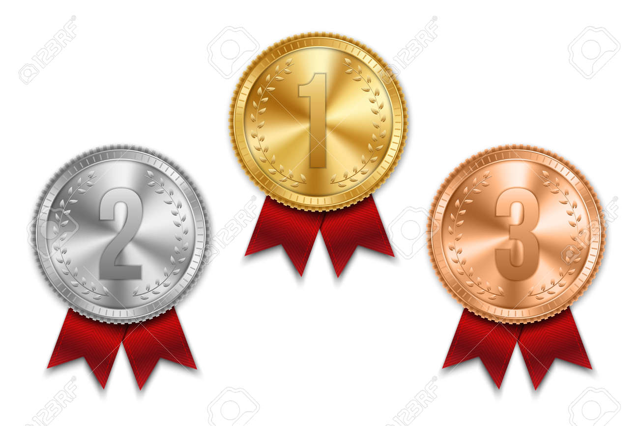 Creative vector illustration of realistic gold, silver and bronze medal set on colorful ribbon isolated on transparent background. Art design placement in sport competition contest. Graphic element. - 92021127