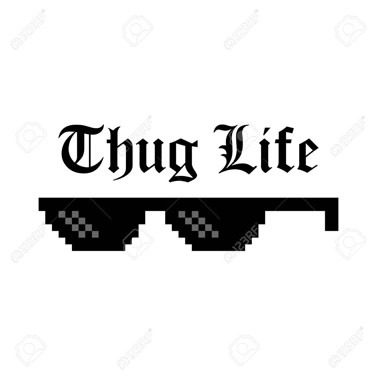 e1809c2916d0 Creative vector illustration of pixel glasses of thug life meme isolated on transparent  background. Ghetto