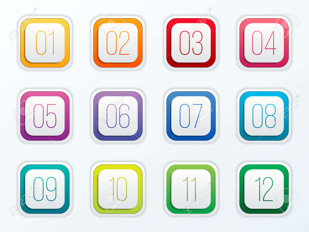 Creative vector illustration of number bullet points set 1 to 12 isolated on transparent background. Art design. Flat color gradient web icons template. Abstract concept graphic element. - 93023461