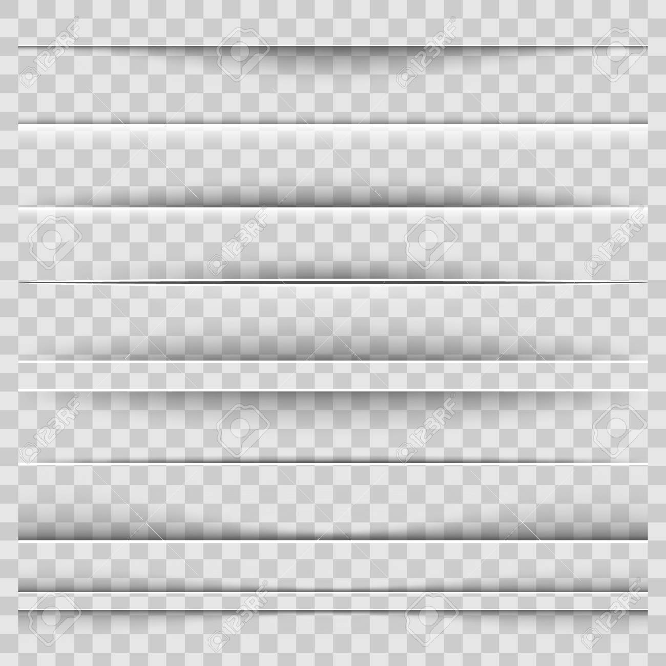 Creative vector illustration of realistic paper shadow dividers isolated on transparent background. Art design effect set. Abstract concept graphic element - 102521858