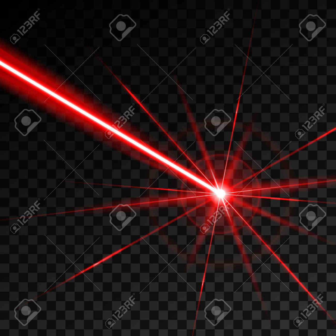 Creative vector illustration of laser security beam isolated on transparent background. Art design shine light ray. Abstract concept graphic element of glow target flash neon line - 102521935