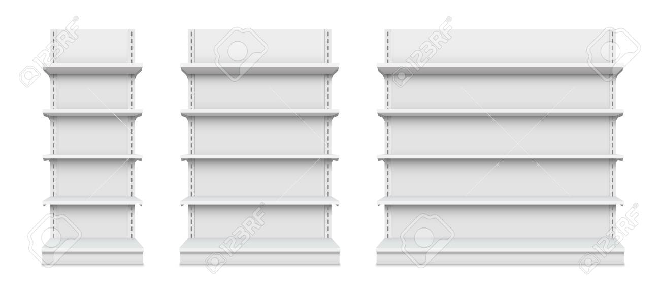 Creative vector illustration of empty store shelves isolated on background. Retail shelf art design. Abstract concept graphic showcase display element. Supermarket product advertising blank mockup - 102591758