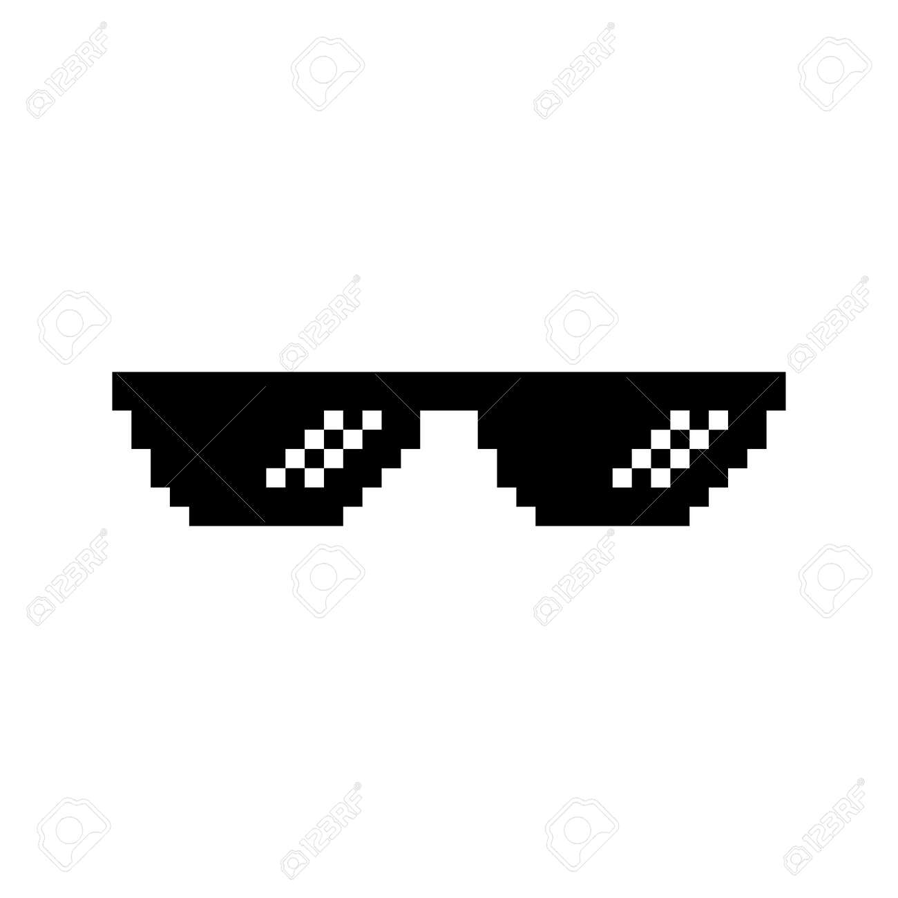 Creative vector illustration of pixel glasses of thug life meme