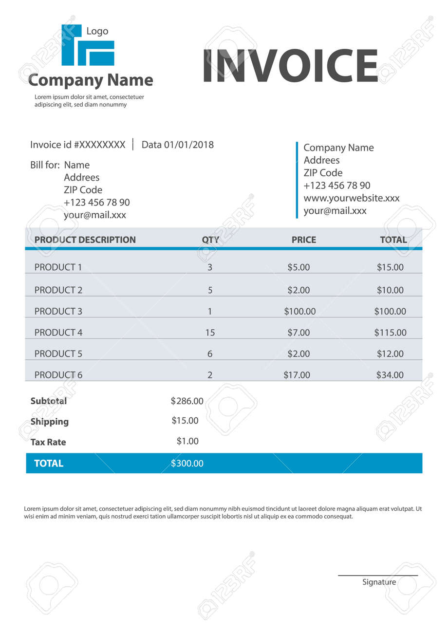 Creative Vector Illustration Of Invoice Form Template For Your