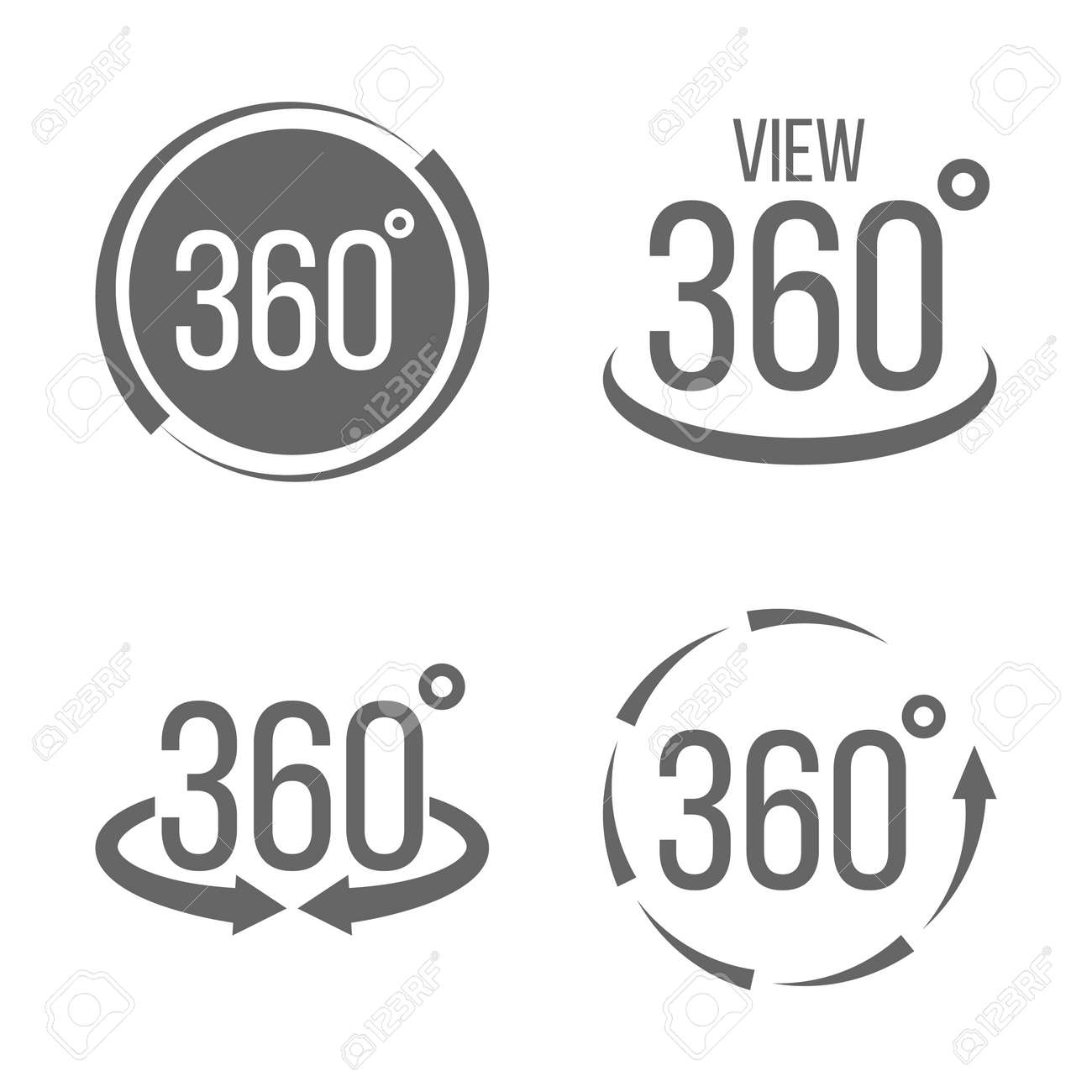Creative vector illustration of 360 degrees view related sign set isolated on transparent background. Art design. Abstract concept graphic rotation arrows, panorama, virtual reality helmet element - 103169946