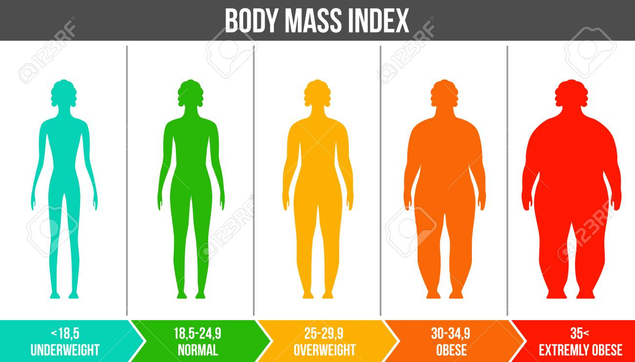 Creative vector illustration of bmi, body mass index infographic chart with silhouettes and scale isolated on transparent background. Art design health life template. Abstract concept graphic element. - 111635730