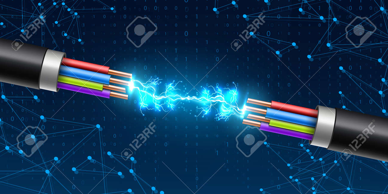 Creative vector illustration of electric glowing lightning between colored break cable, copper wires with circuit sparks isolated on transparent background. Art design. Abstract concept element. - 117646973