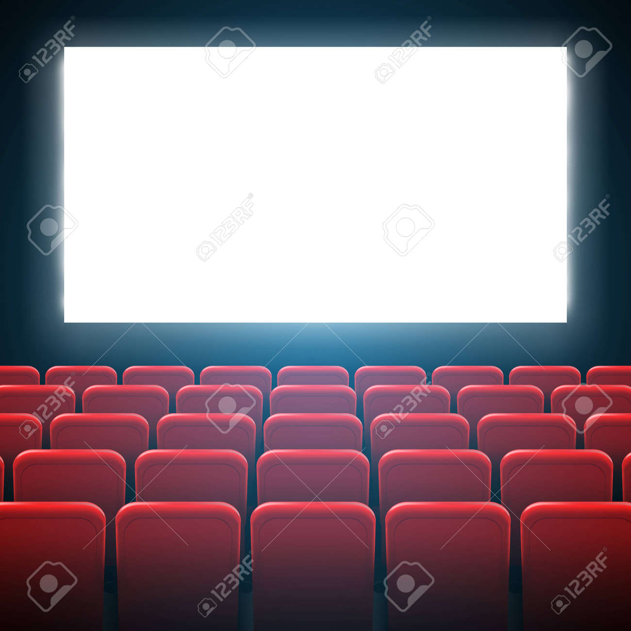 Creative illustration of movie cinema screen frame and theater interior. Art design premiere poster background, lights and rows red seats. Abstract concept graphic scene element. - 120956869