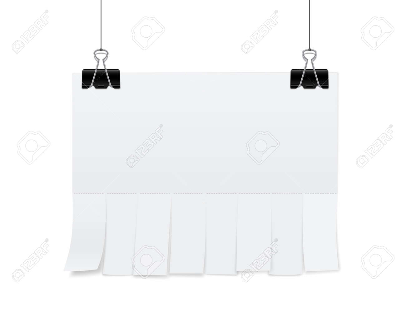 Creative illustration of empty blank sheet paper advertising with tear-off cut slips isolated on background. Street art design copy space template. Abstract concept graphic element. - 120957551