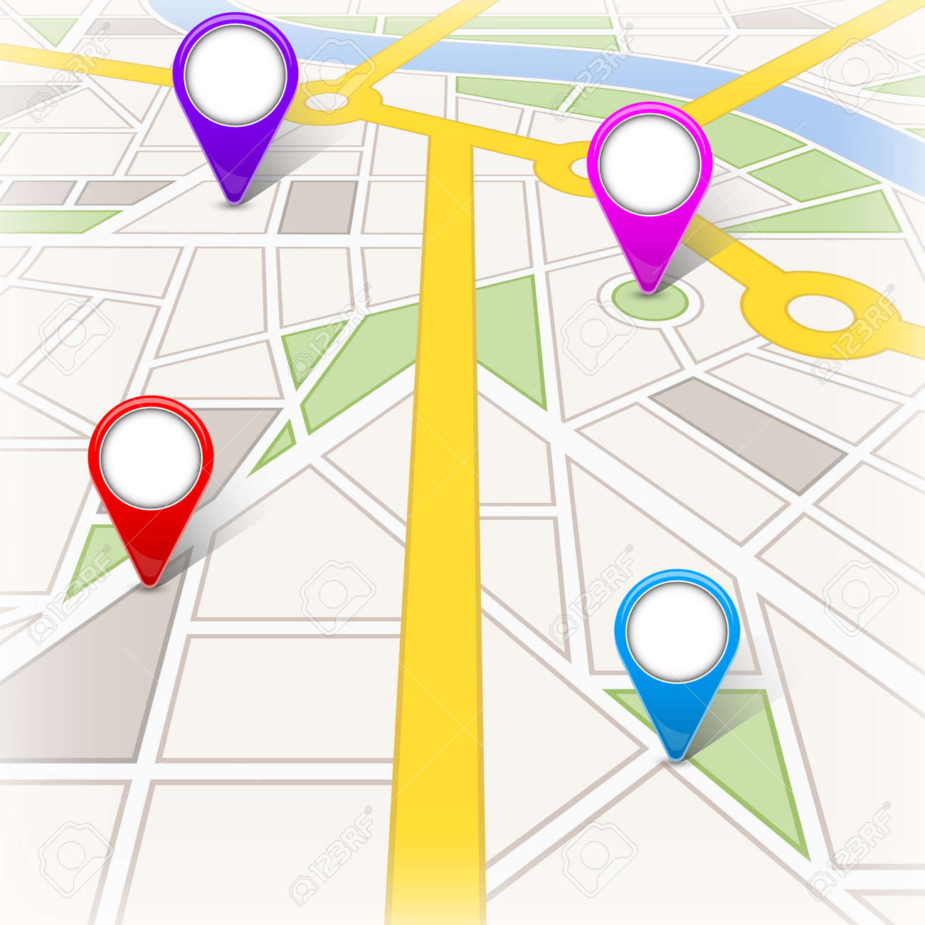 Creative illustration of map city. Street road infographic navigation with GPS pin markers and pointers. Art design. City route and infrastructure. Abstract concept graphic element - 121105086