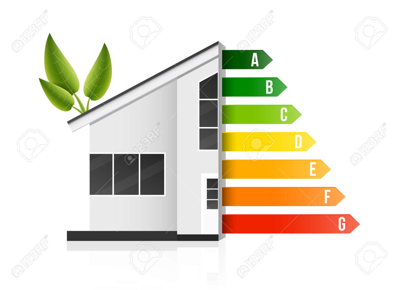 Creative illustration of home energy efficiency rating isolated on background. Art design smart eco house improvement template. Abstract concept graphic certification system element. - 121105806