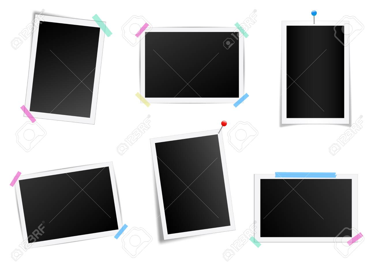 Creative illustration set of square photo frame with shadows isolated on background. Retro art design. Realistic mockups. Color adhesive tapes, push pins. Abstract concept graphic element. - 121271646