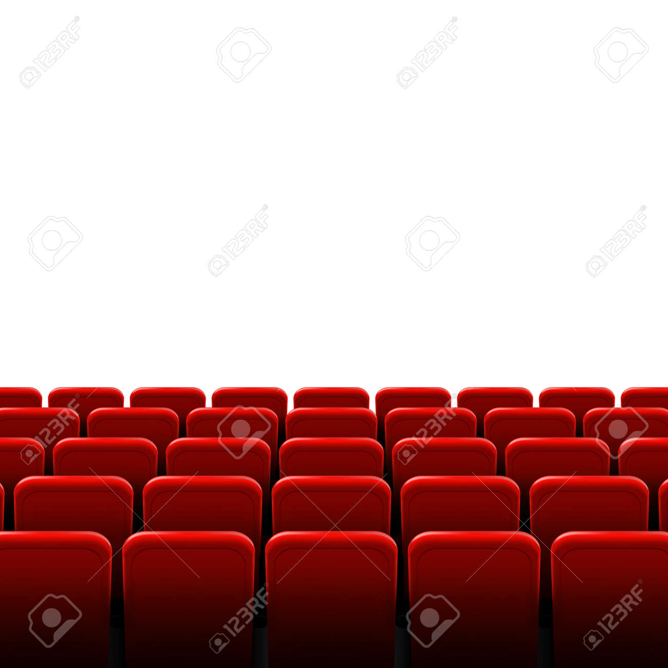 Creative illustration of movie cinema screen frame and theater interior. Art design premiere poster background, lights and rows red seats. Abstract concept graphic scene element. - 121272091