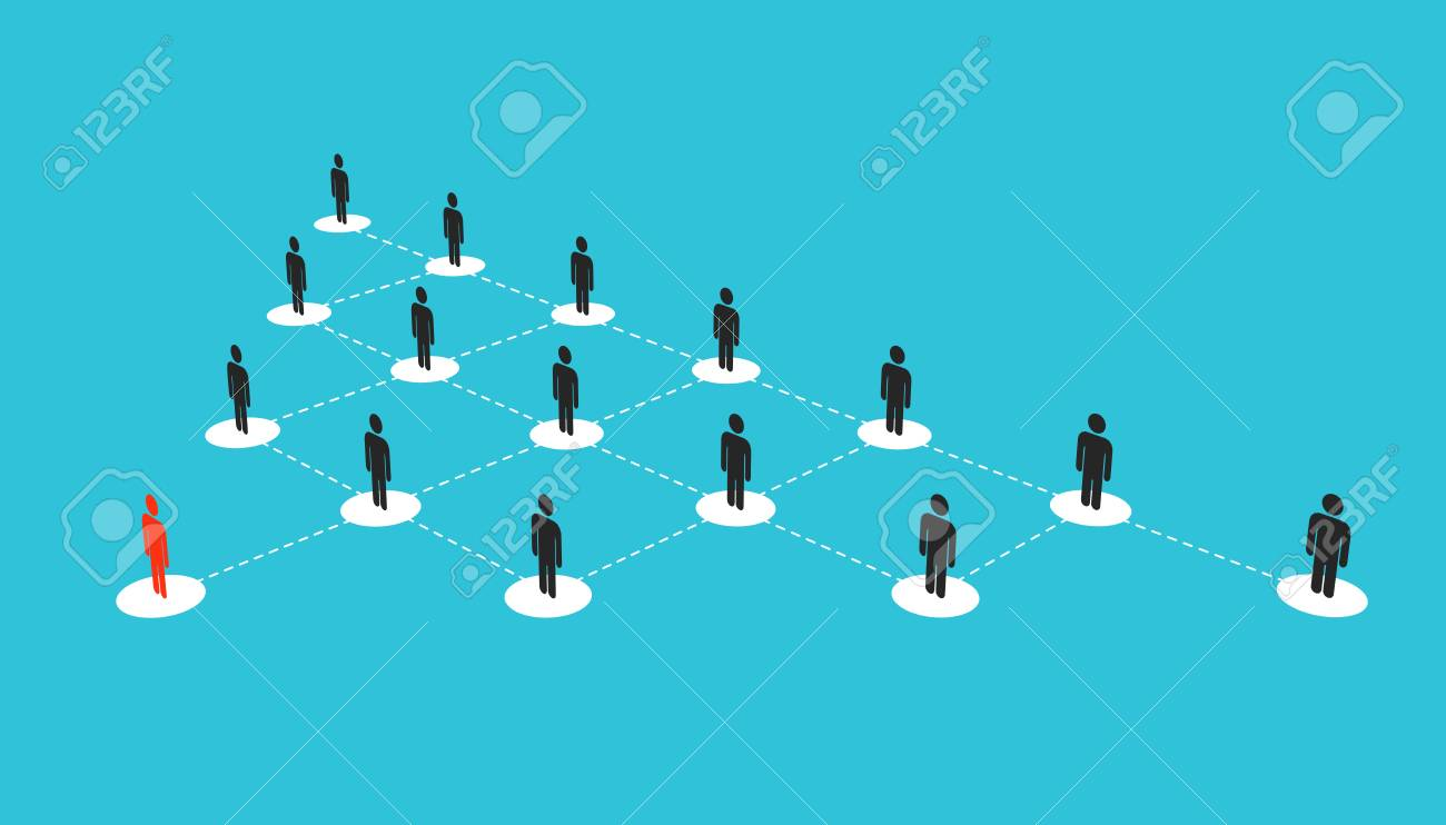 Abstract creative illustration of growing connecting people social network scheme isolated on background. Company corporate department team. Art design diagram concept structure. - 121108085