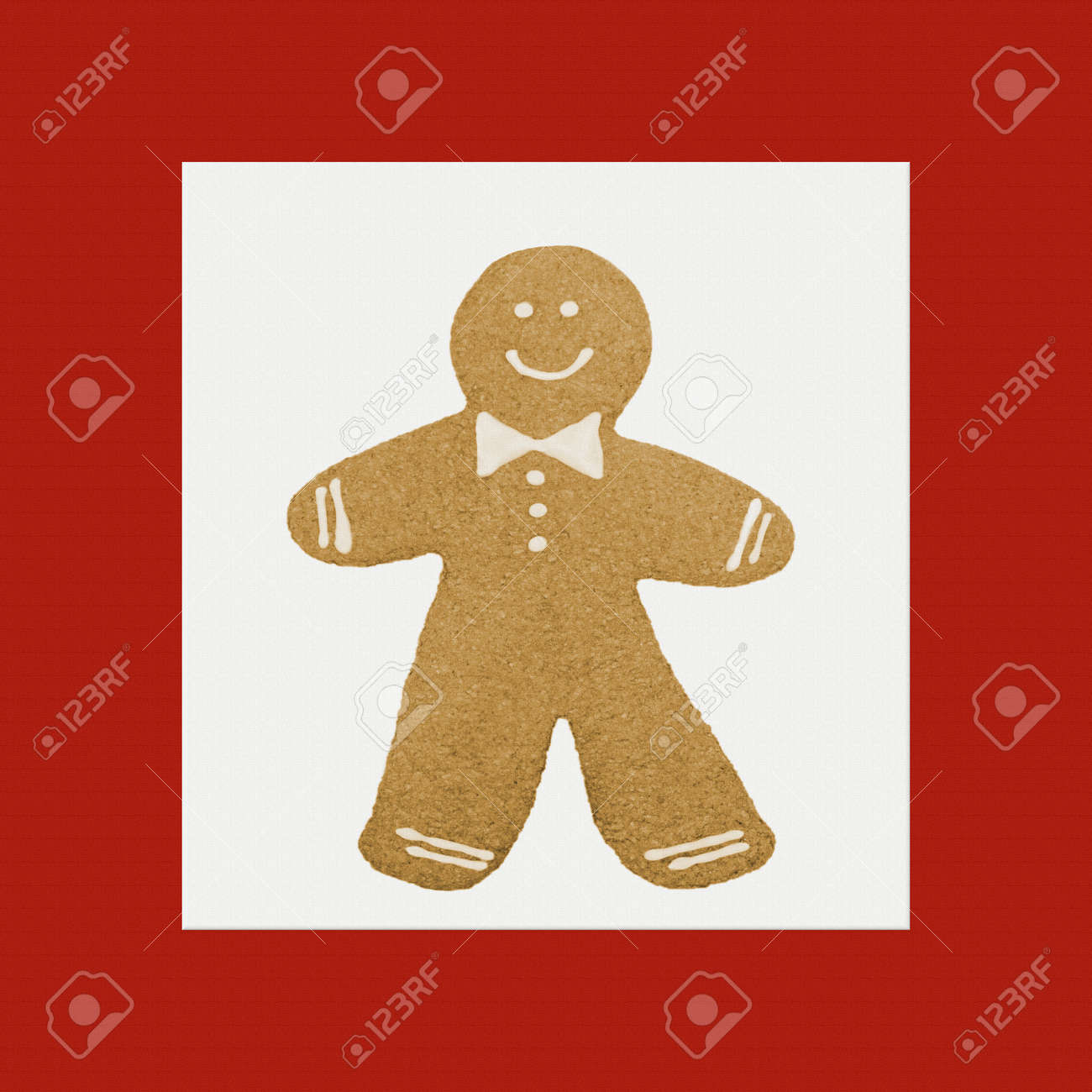 Christmas Gingerbread Man Pattern On A Red Canvas Background Stock
