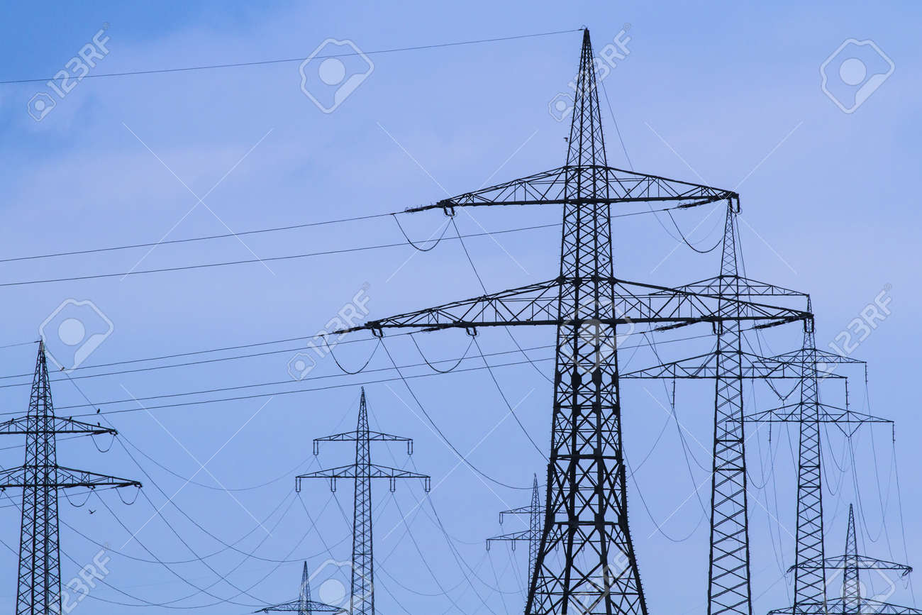 Electrical towers in rural Bavaria, Germany Stock Photo - 15814573