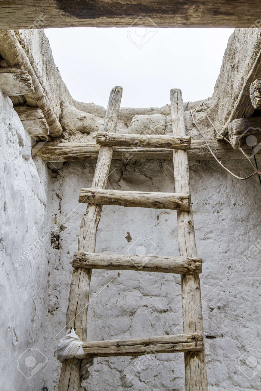 Old Wooden Ladder Seen In Ladakh India