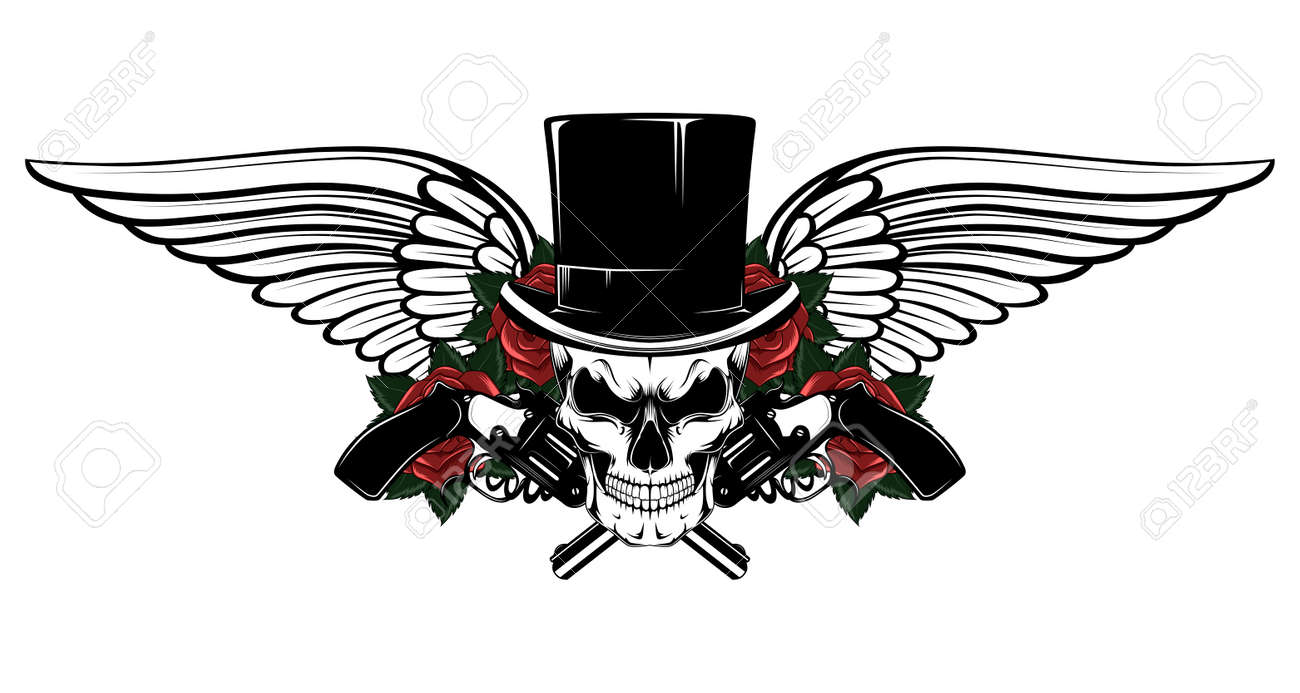 Skull in a hat cylinder with revolvers, roses, wings. - 149910271