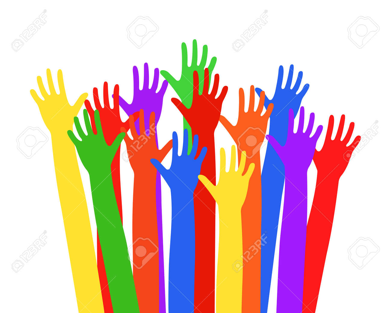 Multi-colored hands raised up Vector illustration EPS10 - 158587863