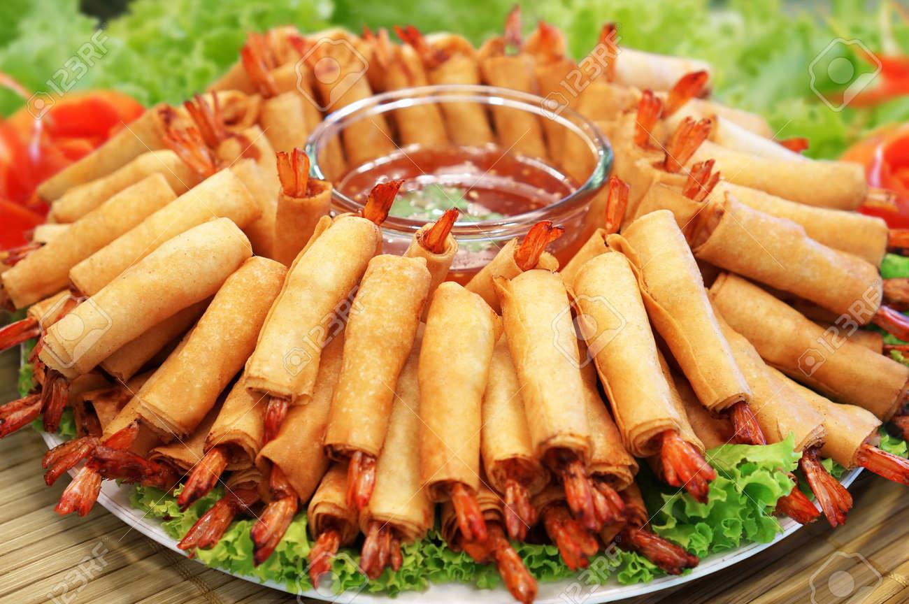 Crispy Chinese Traditional Shrimp Spring rolls food Stock Photo - 18818749