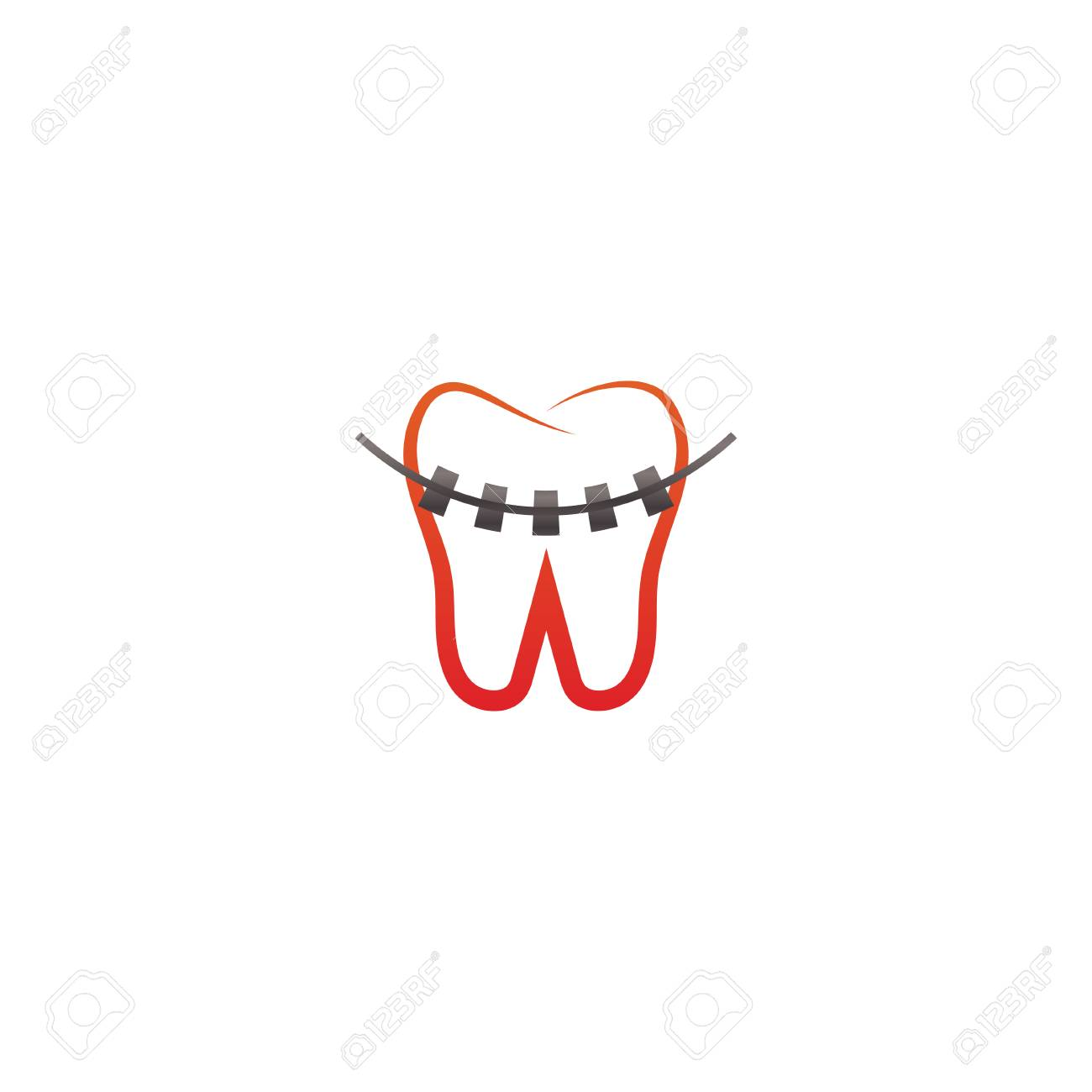 Clean Dental Tooth With Braces Icon Design Template Royalty Free
