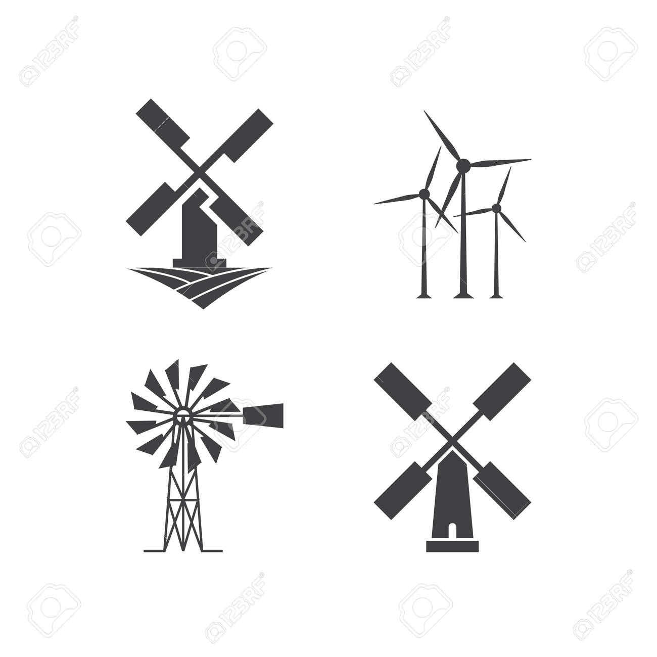 illustration of windmill icon design template royalty free cliparts