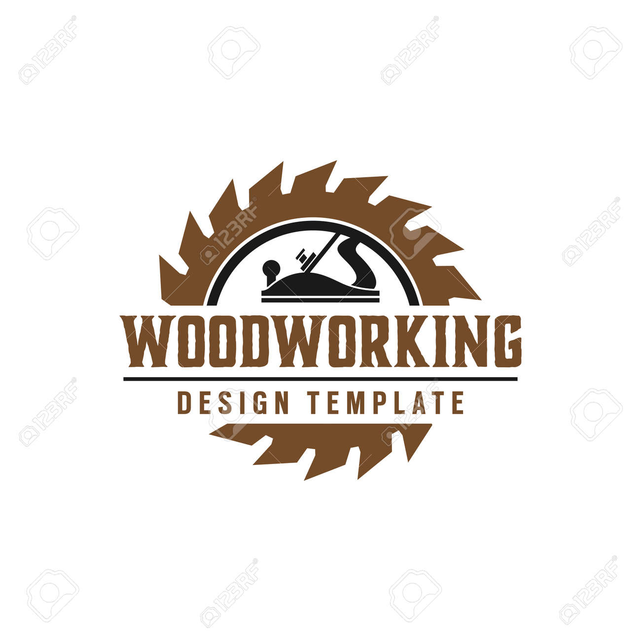 Woodworking gear logo design template vector element isolated - 106442074