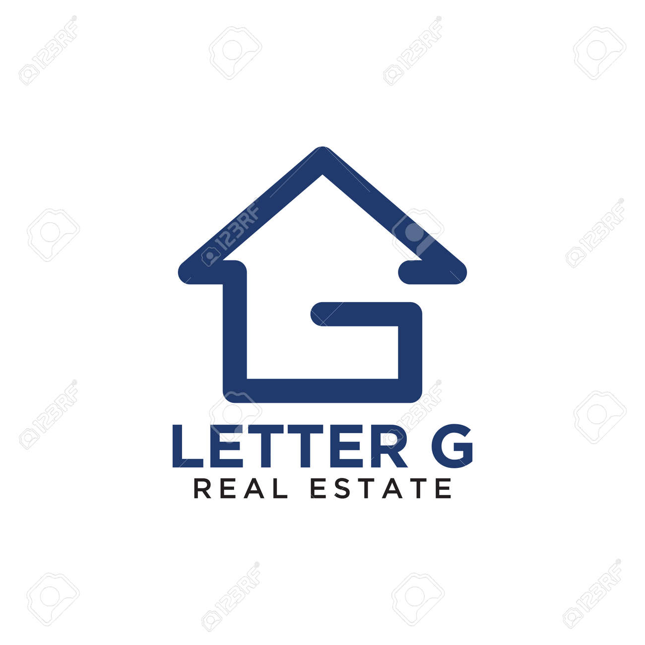 initial letter g home real estate logo design template ロイヤリティ