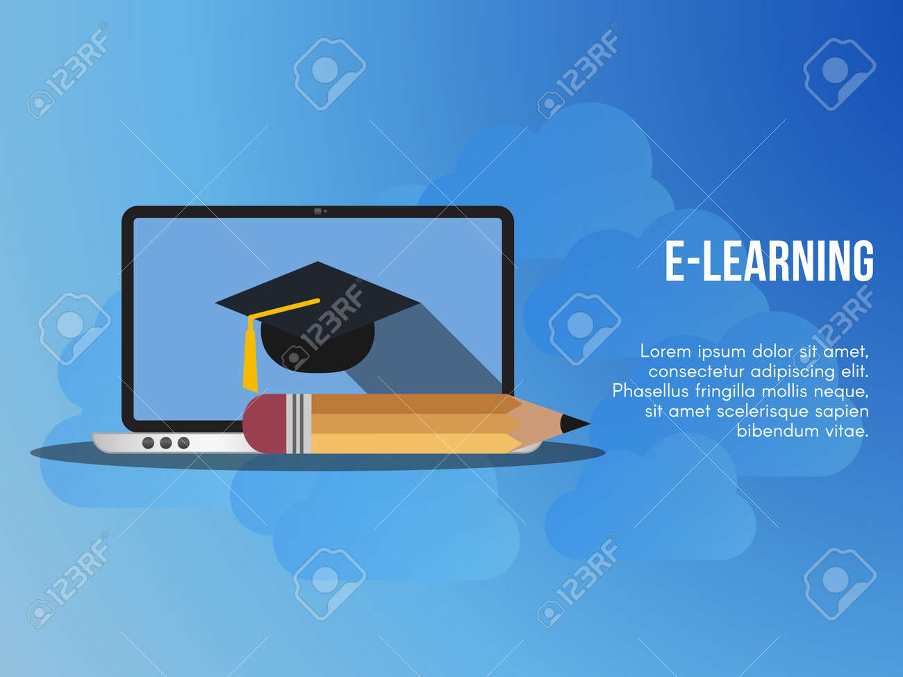 E Learning Concept Ready To Use Vector Suitable For Background Royalty Free Cliparts Vectors And Stock Illustration Image 110625451