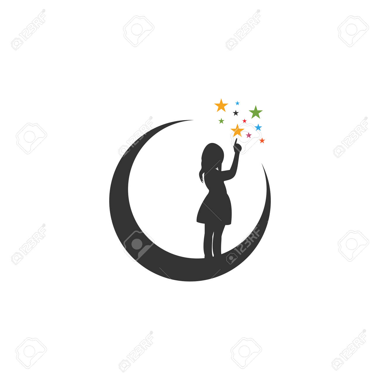Moon night graphic design template vector isolated - 134009494