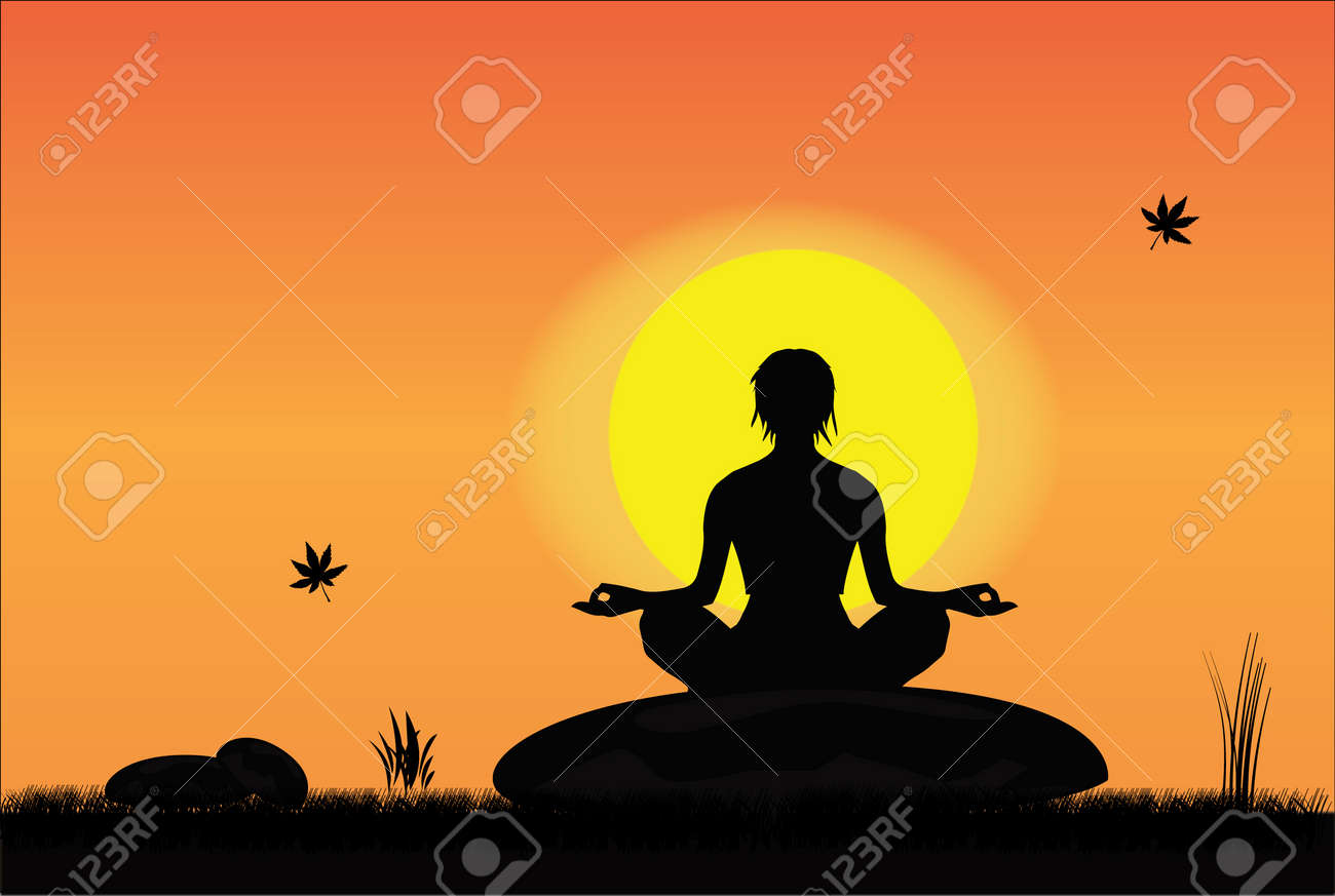 A girl meditating peacefully on a mountain top at sunrise or sunset Stock Photo - 17458480