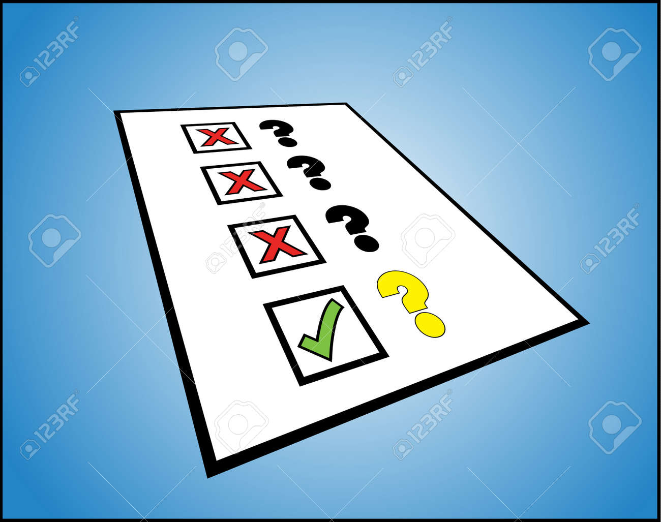 the right question - A list of question marks with the right and wrong tick box against them Stock Photo - 17613159