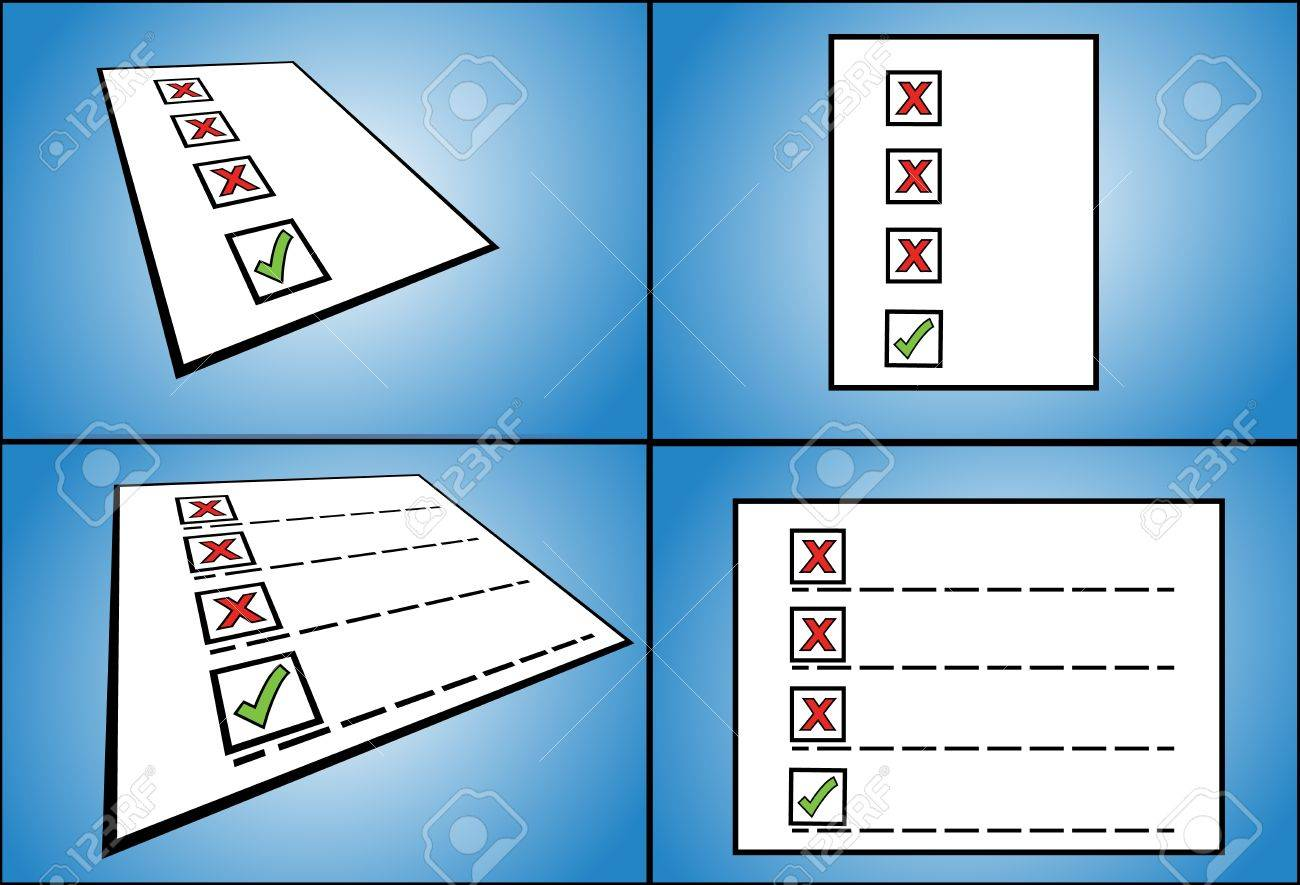 right and wrong - List of wrong check box options followed by a right check box option written on paper  perspective view Stock Photo - 17613173