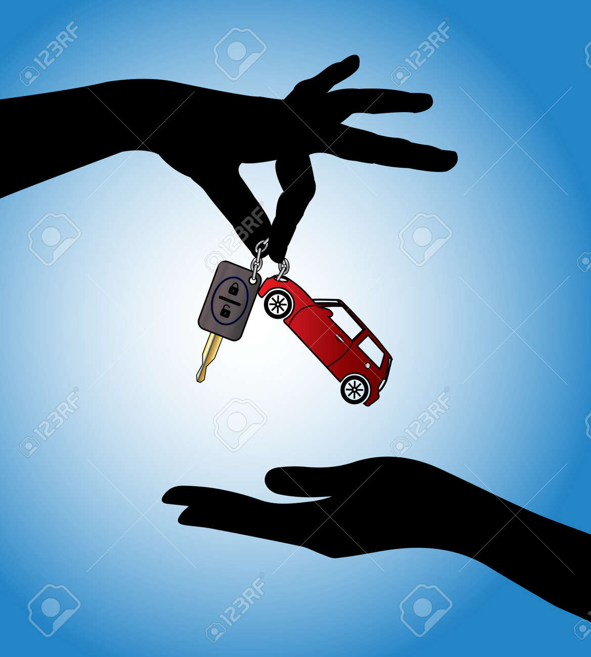 Human hands exchanging modern car keys with automatic locking system and red car symbol Stock Photo - 17613178