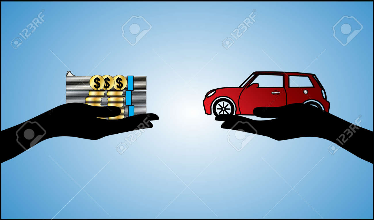 Illustrations of a Car loan in US Dollars or Car Payment using Hand Silhouettes and a beautiful red Car Stock Vector - 17741390