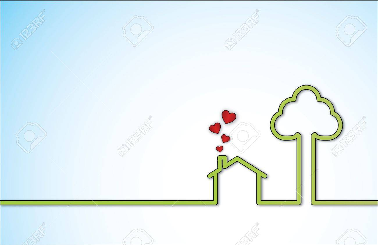 Simple Sweet Home illustration with a lonely green home next to a big tree with red heart shaped icons coming out of chimney Stock Vector - 17741394