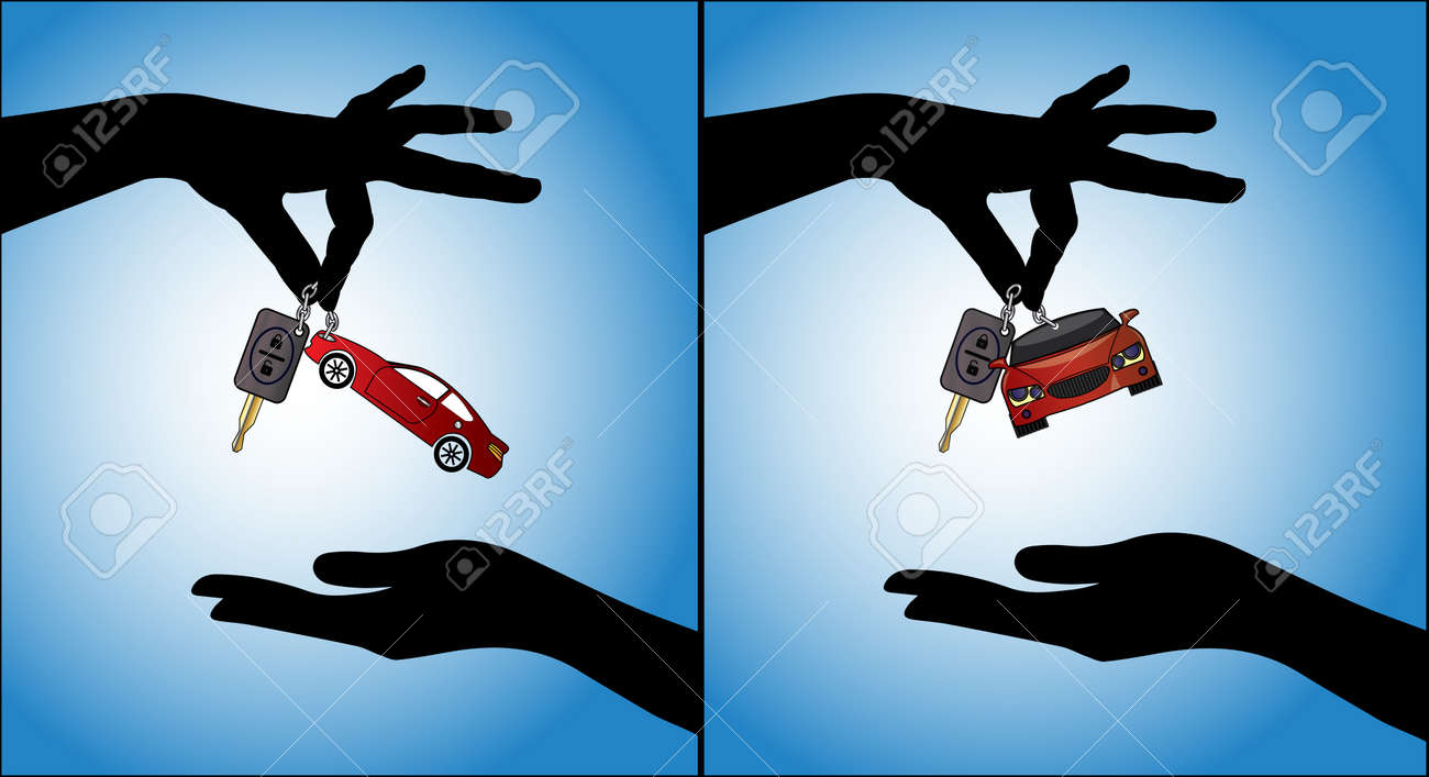 Two different illustrations of Human hands exchanging modern car keys with automatic locking system and red car symbol - 17885049