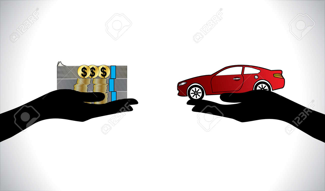 Illustrations of a Car loan or Car Payment using Hand Silhouettes, dollar coins and notes and a beautiful red Car Stock Vector - 21422235