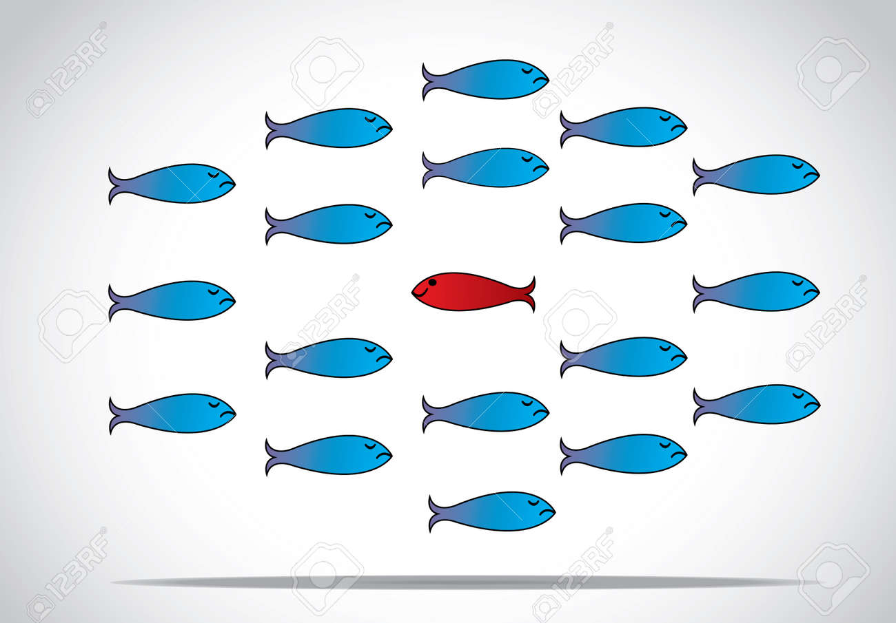 a sharp smart alert happy red fish with open eyes going in the opposite direction of a group of sad blue fishes with closed eyes   Be different or unique concept design vector illustration Stock Vector - 25332122