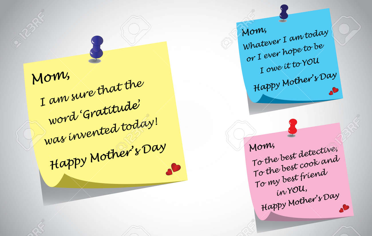 Different Colorful Happy Mothers Day Quotes Note Set Royalty Free