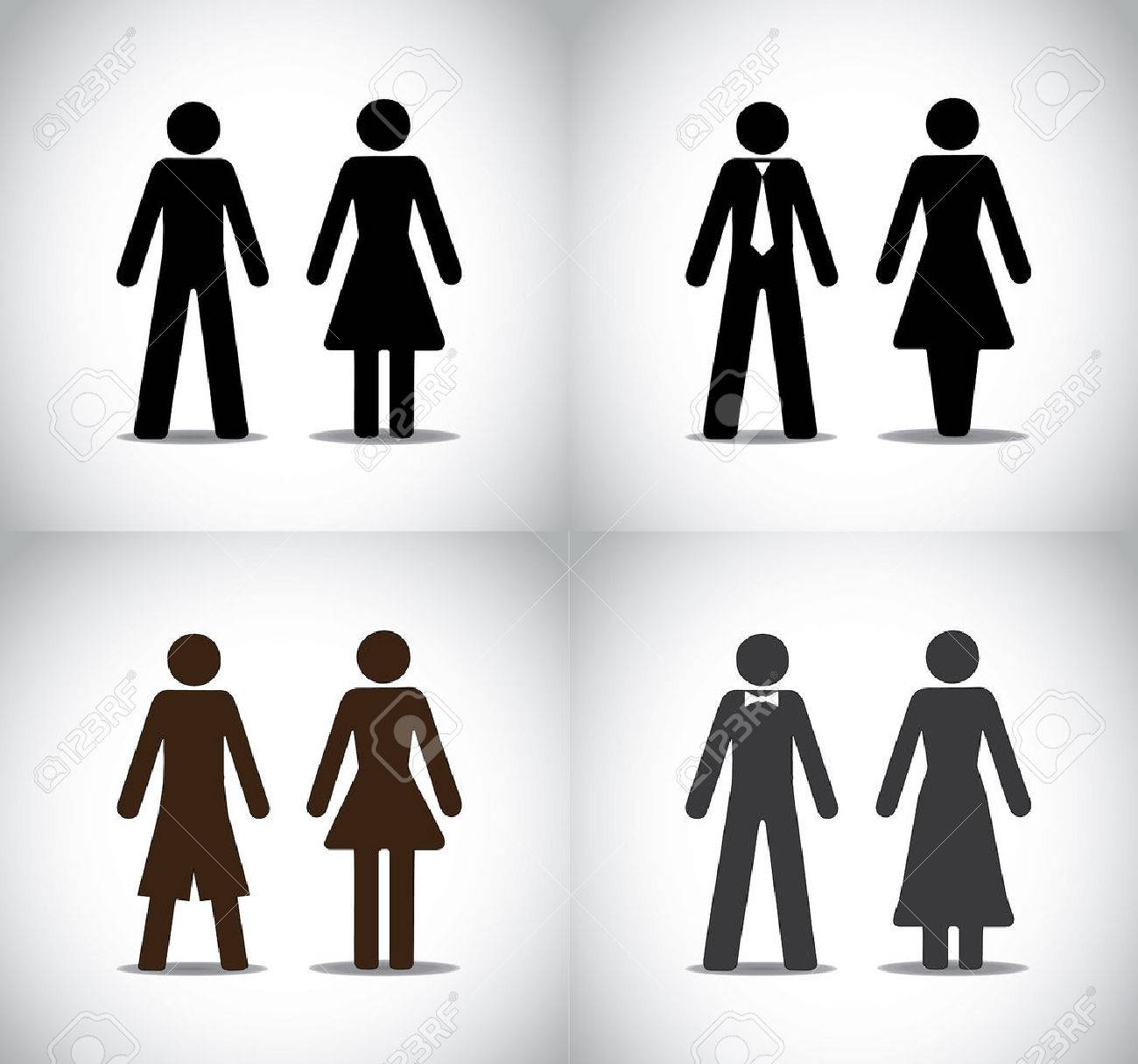 Well dressed man woman or boy girl standing concept symbols set well dressed man woman or boy girl standing concept symbols set different black colorful simple male buycottarizona