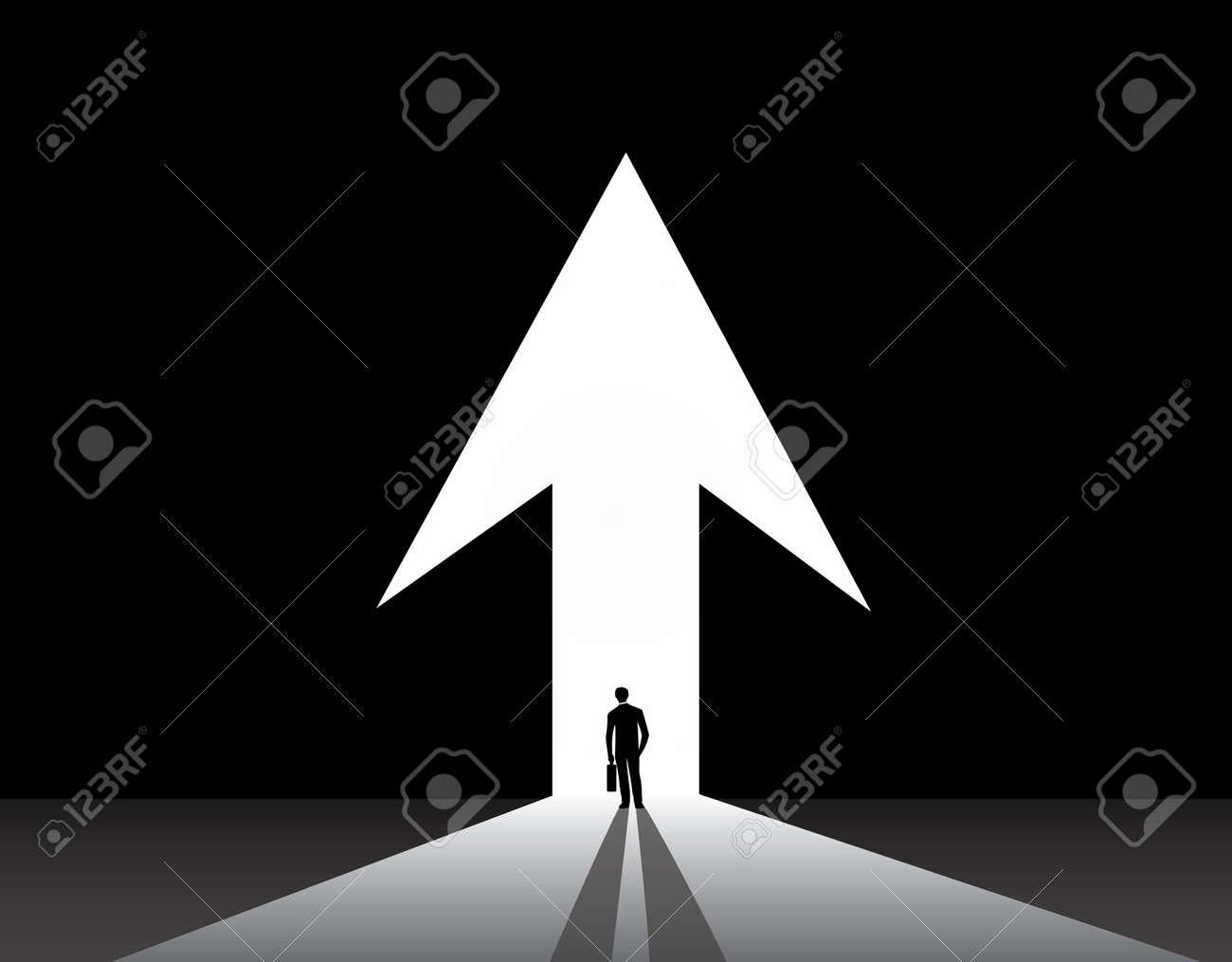 Businessman silhouette stand front of big up growth arrow door nicely dressed business man in suit & Businessman Silhouette Stand Front Of Big Up Growth Arrow Door ...