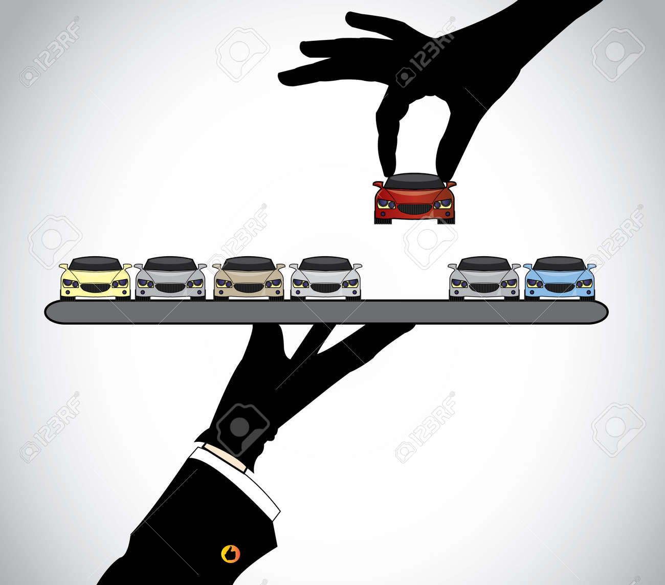 hand silhouette choosing the best red car from car dealer agent - concept illustration of customer selecting a beautiful red car from a set of cars offered to him by the seller on a tray - 28406348
