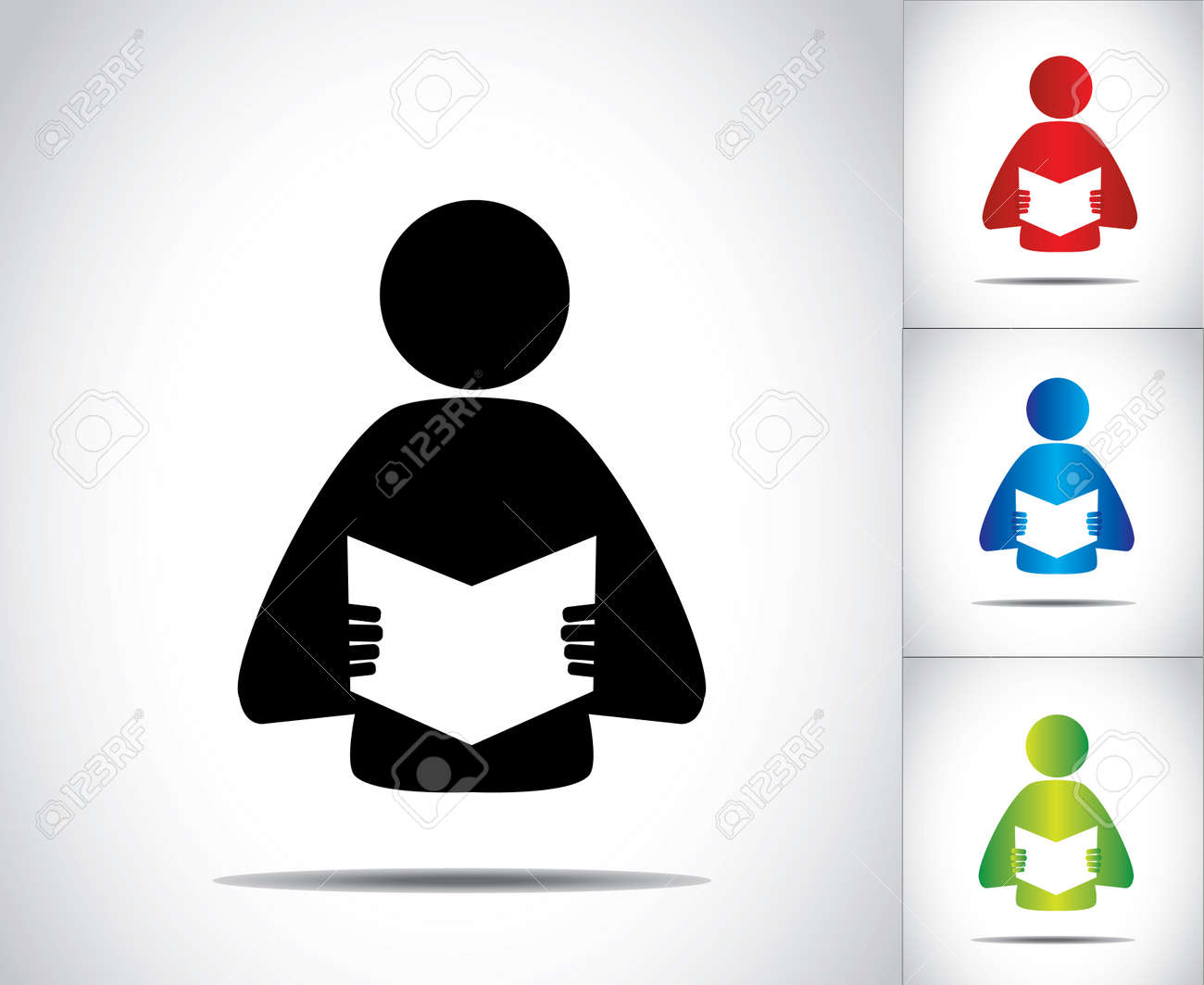 a male person reading an open book concept illustration symbol vector a male person reading an open book concept illustration symbol colorful man studying literature or novel collection set