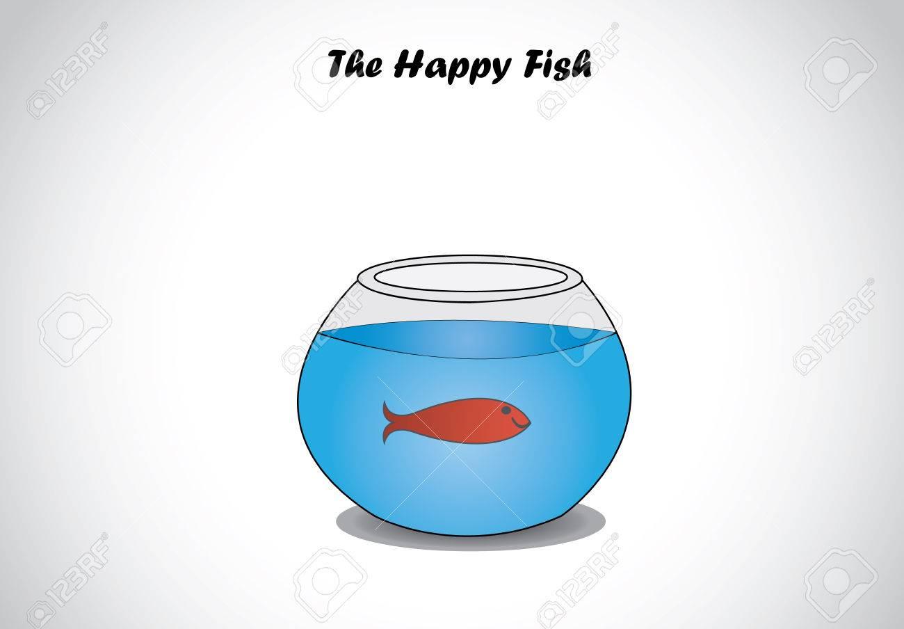 Enkele rode happy vis in glazen aquarium kom concept van het ...
