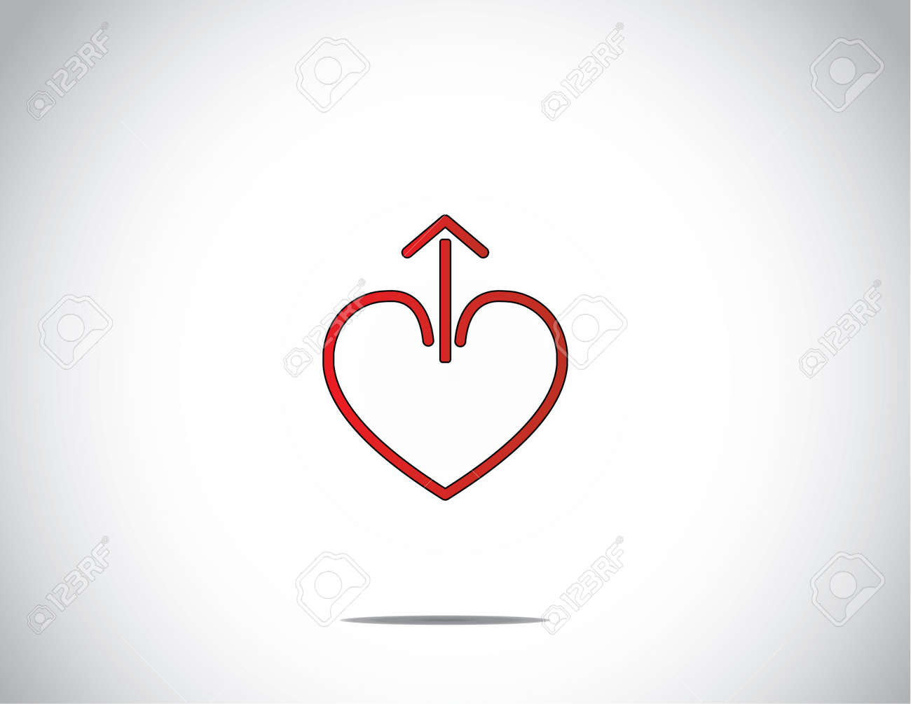 Simple Red Love Heart Shape With Up Arrow From The Middle With
