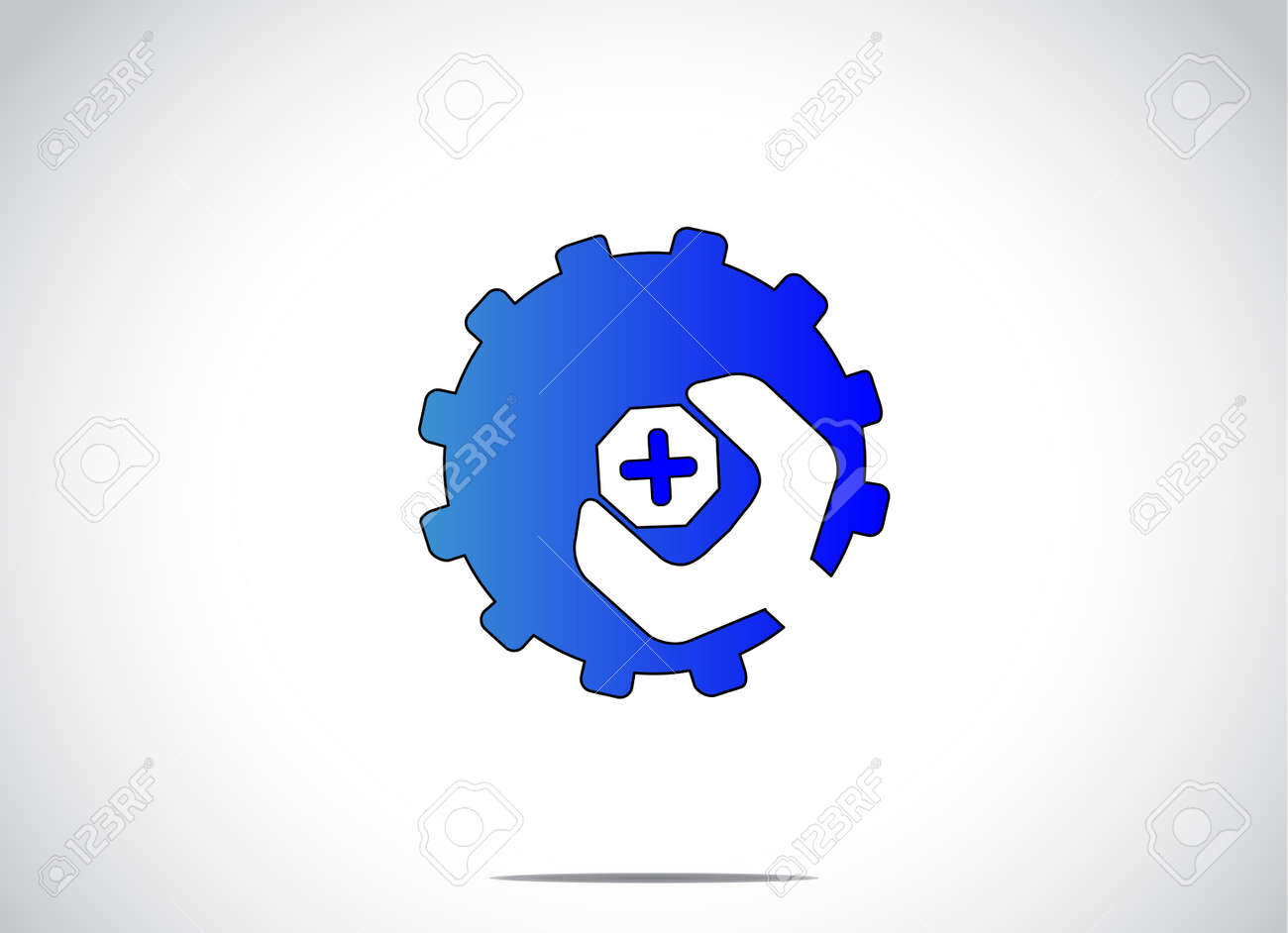 White Gear Icon Bright white background with a
