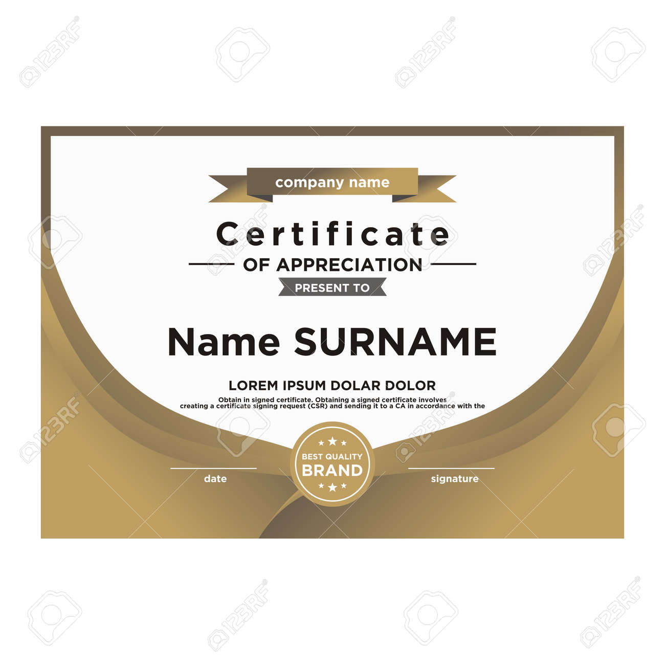 Certificate Template Editable Color And Shape Royalty Free Cliparts