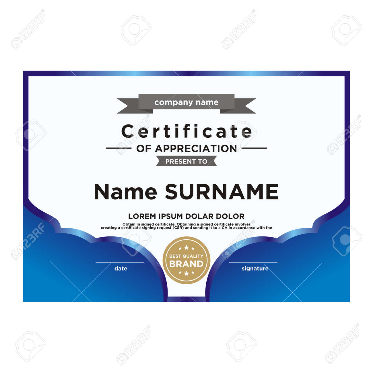 Certificate Template Editable Color And Shape